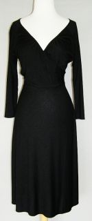 ANN TAYLOR LOFT Black Knit Wrap Neckline Dress 4 NEW NWOT Soft Stretch