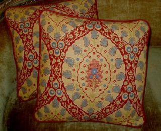 Brunschwig Fils Printed Linen Fabric Custom Designer Throw Pillows Set