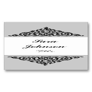 Gray and white label elegant Business card