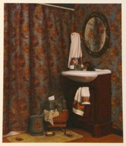 New Kathy Ireland Fabric Shower Curtain Country Rose Bathtub Green