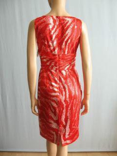 Kay Unger Stretch Satin Zebra Print Dress Red 6 $350