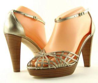 Kate Spade Gidget Gold Metallic Womens Designer Shoes Platform Open