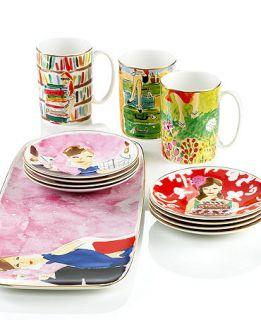 Set of 2 Kate Spade Lenox Illustrated World Traveler Mugs