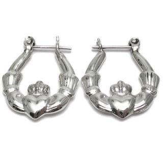 925 Sterling Silver Irish Love Claddagh Hoop Earrings