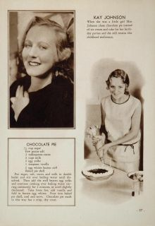 1931 Kay Johnson Movie Film Star Chocolate Pie Recipe Original
