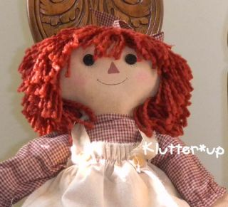 Country Primitive Prim Fabric Raggedy Ann Girl Doll 20
