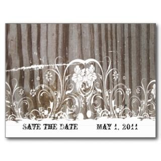 Banded Wood Look Shabby Lace Wedding Invitation