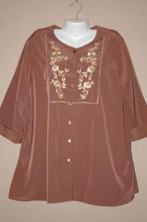 Womens Brylane Woman Brown Button Up Tunic Top Shirt Size 1x Blouse