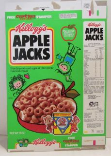 Kelloggs Apple Jacks Cereal Box 1991 Chip Dale Stamper OFFER on Back