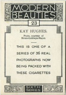 Kay Hughes 1938 Bat Modern Beauties XL Tobacco Card Series 6 23