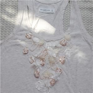 Abercrombie Fitch Women Keegan Tank Cami Top Tee Shirt Oatmeal Size S