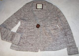 Kenji Womens Cream Brown Wool Blend Cardigan Sweater Sz M Medium Long