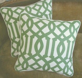 Kelly Wearstler Linen Fabric Imperial Trellis Pillows 2