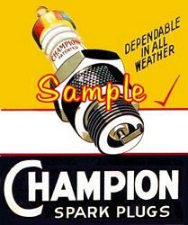 Champion Spark Plug 3x4 Gasoline Decals Gas Oil Vinyl Stickers Signs