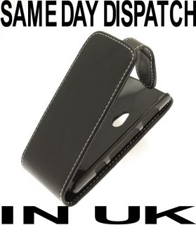 Black Leather Flip Case 4 Sony Ericsson Xperia Neo MT15