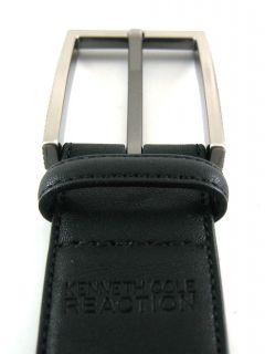 Kenneth Cole Men Black Feather Edge Stich Leather Belt