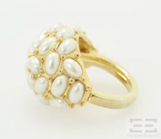 Kenneth J Lane Gold Pearl Cluster Ring Size 6