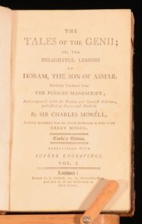 C1800 2 Vol The Tales of Genii Charles Morell James Ridley Illustrated