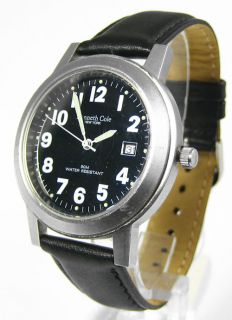 Kenneth Cole New York Mens Analog Watch Black Leather Band Pre Owned