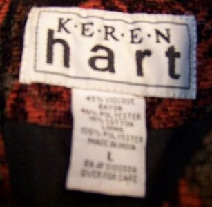 Keren Hart Womens Black Tapestry Jacket Blazer Coat Sz L