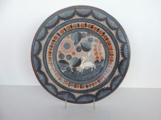 Mexican Folk Art Pottery Hand Painted Wall Plaque Platter 12 25