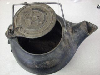 Vintage CAST IRON Star # 8 Tea Kettle Pot swing lid   Bottom fits Cook