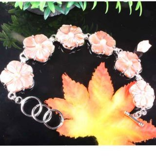 Mother of Pearl Shell Flower Bead Bracelet Bangle 8 5L