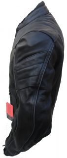 Mens Black motorbike Motorcycle Summer Leather Jacket