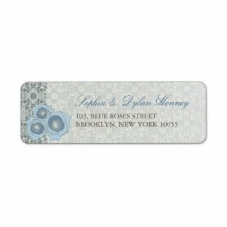 Blue Roses & Lace 2 Custom Label Return Address Labels