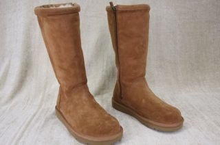 UGG Australia Kenly Chestnut Brown Tall Suede Boots Side Zip Womens