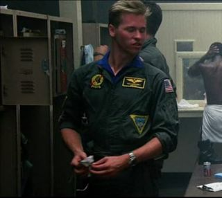 As seen in the movie Top Gun ,on the flight suit worn by ICEMAN.