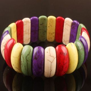 Multicolor Howlite Turquoise Half Moon Bead Elastic Bracelet Bangle