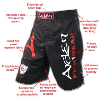 Arden MMA Gel Fight Shorts UFC Grappling Cage Kick Boxing Martial Arts