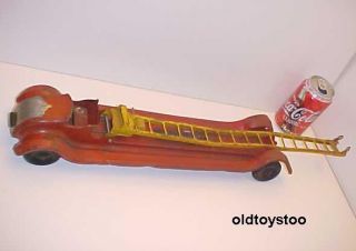 Keystone Toys USA Chrysler Airflow Aerial Ladder Wind Up Firetruck 24