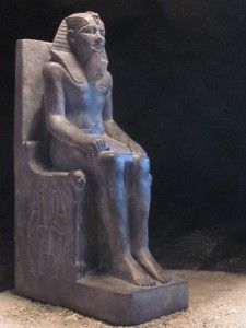 Egyptian Statue Sculpture of Pharaoh Khafre Seated on Throne of The
