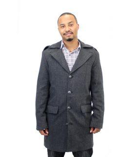 Kenneth Cole Reaction Mens Black Multi Wool Blend Car Coat M 2XL