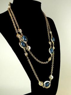 Kenneth Jay Lane Vintage Inspired 22K Gold Plated Necklace Montana or