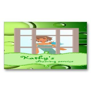 Cleaning Business Card Green Bubbles
