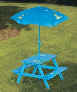 Kid Wood Picnic Table Chair Umbrella Boy Girl Ladybug Frog Pool Deck