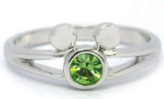Mickey Mouse Peridot Crystal Birthstone August Ring Kid