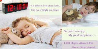 Big Jumbo LED Snooze Wall Desk Alarm Day of Week Calendar Clock
