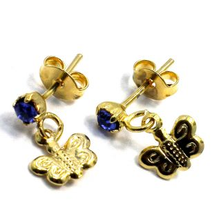 Gold 18K GF Earrings Royal Blue Crystal Little Butterfly Kids Baby