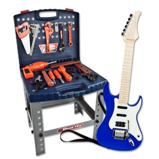 Toy Tool Set Pretend Electric Guitar Playset Kids Boys Children Deluxe