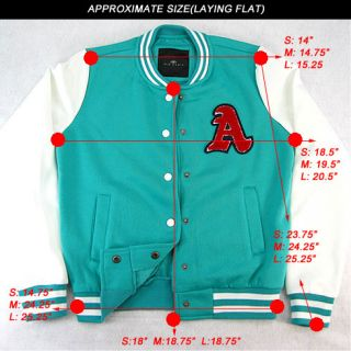 Womens Girls Varsity Baseball Letterman Jacket Casual with Letter A