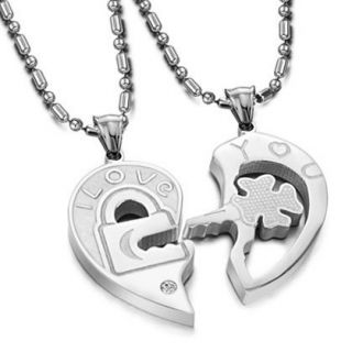 Valentine Couples Lock and Key Pendant Necklaces Stainless Steel (One