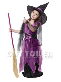 New Witch Child Kids Halloween Costume Dress Robe Outfit Cosplay Girl