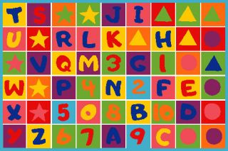 Kids Letters Shapes and Colors 3x5 Area Rug Carpet Play Mat Great Gift