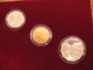 ISRAEL 1984 SITES IN HOLY LAND KIDRON VALLEY COIN SET 1/4oz GOLD +2