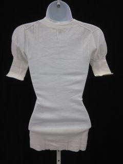 Kier J White Button Neckline Short Sleeve Shirt Top S
