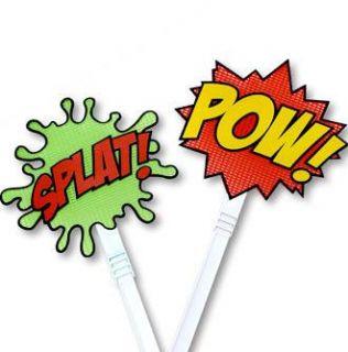 Cartoon Comic Book Style Fly Swatter 2 PK Set Gag Joke Funny